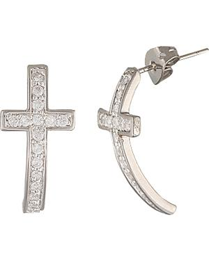 Montana Silversmiths Sparkling Curled Cross Earrings
