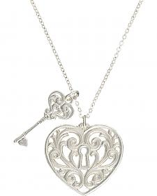 "Montana Silversmiths ""Holding the Key to My Heart"" Double Charm Necklace"