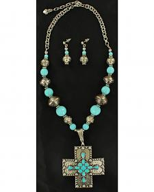 Blazin Roxx Turquoise Center Stone Cross Necklace & Earrings Set