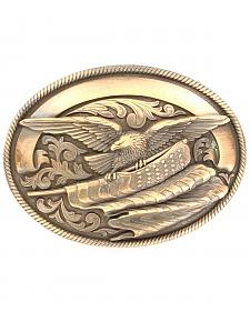 Oval Rope Edge Eagle Flag Buckle
