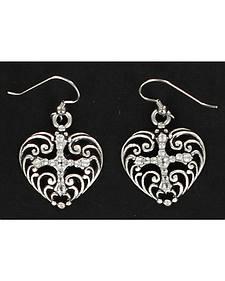 Blazin Roxx Rhinestone Heart and Cross Earrings