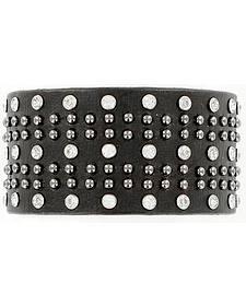 Blazin Roxx Rhinestone Studded Leather Cuff Bracelet