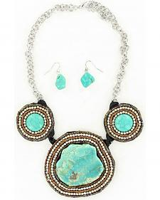 Blazin Roxx Beaded Turquoise Stone Necklace & Earrings Set