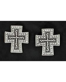 Blazin Roxx Crystal Cross Post Earrings