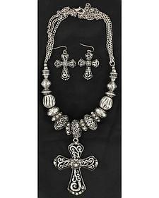 Blazin Roxx Cross Crystal Bead Three-Chain Necklace & Earrings Set