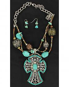 Blazin Roxx Beaded Turquoise Cross and Stone Necklace & Earrings Set