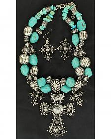 Blazin Roxx Three Cross and Turquoise Stone Beaded Necklace & Earrings Set