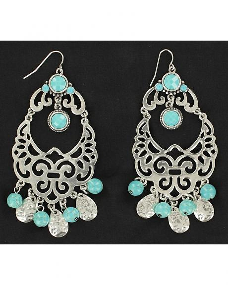 Blazin Roxx Filigree Turquoise Chandelier Earrings