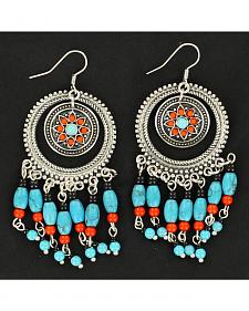 Blazin Roxx Turquoise and Red Bedaded Concho Earrings