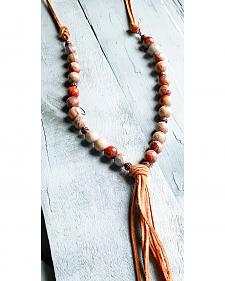 Jewelry Junkie Aqua Terra Beaded Fringe Necklace