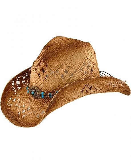 Scala Beaded Straw Cowboy Hat