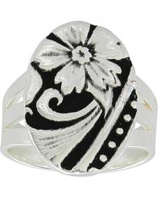 Montana Silversmiths Women's LeatherCut Western Flower Ring
