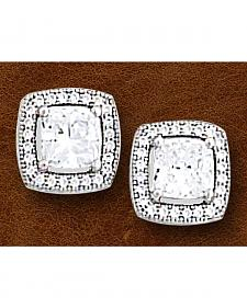 Kelly Herd Women's Sterling Silver Square Bezel Set Pave Earrings