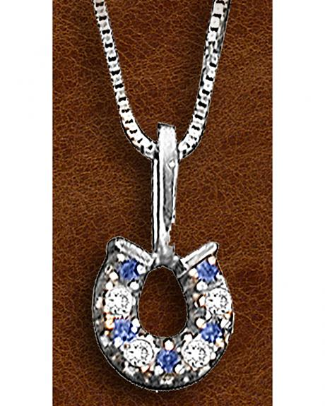 Kelly Herd Sterling Silver Clear and Blue Horseshoe Pendant