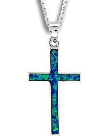Kelly Herd Sterling Silver Blue Opal Cross Pendant