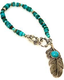 Isac West Women's Turquoise Feather Bracelet