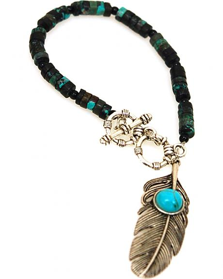 Isac West Women's Turquoise Feather Bracelet