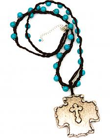 Isac West Women's Long Turquoise Cross Necklace