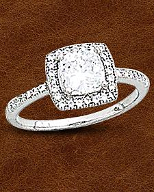 Kelly Herd Sterling Silver Square Bezel Set Pave Ring