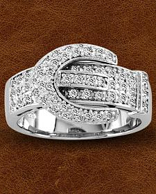 Kelly Herd Sterling Silver Pave' Buckle Ring