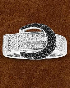 Kelly Herd Sterling Silver Pave' Black Buckle Ring