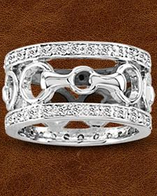 Kelly Herd Sterling Silver Wide Band Bit Ring