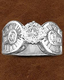 Kelly Herd Sterling Silver Horseshoe & Solitaire Ring