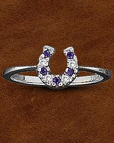 Kelly Herd Sterling Silver CZ Horseshoe Ring