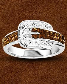 Kelly Herd Buckle Ring with Swarovski Crystals