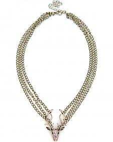 Isac West Women's Crystal Deer Necklace