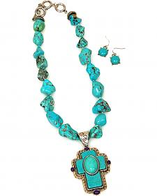 Isac West Women's Chunky Natural Turquoise Cross Pendant Jewelry Set