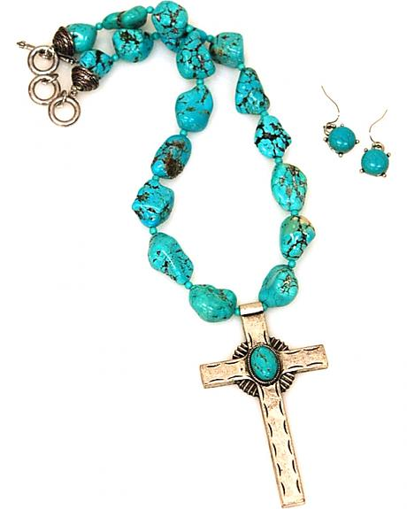 Isac West Women's Chunky Cross Pendant Necklace Jewelry Set