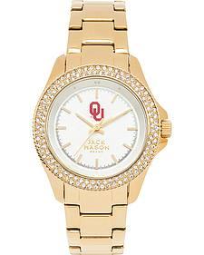 Jack Mason Women's Oklahoma Gold-Tone Glitz Sport Bracelet Watch