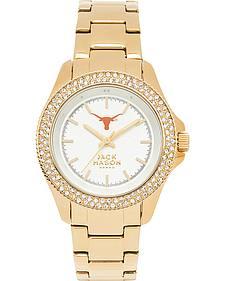 Jack Mason Women's University of Texas Gold-Tone Glitz Sport Bracelet Watch