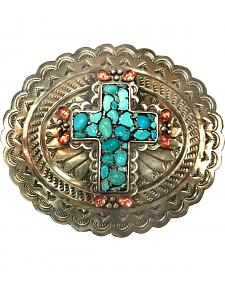 Corral Women's Turquoise Cross Engraved Belt Buckle