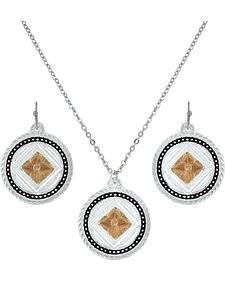 Montana Silversmiths Wild Prairie Rose Cameo Jewelry Set