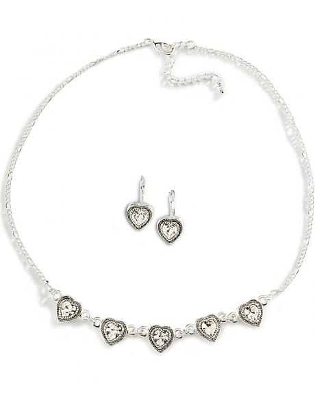Montana Silversmiths crystal heart earring & necklace set