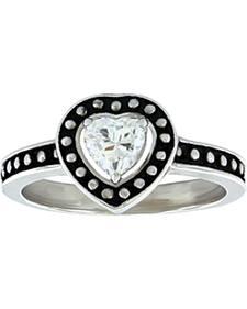 Montana Silversmiths Women's Pin Point Framed Heart Ring