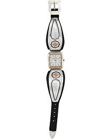 Montana Silversmiths Portrait of a Prairie Daisy Leather Watch