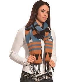 Rapti Fashion Brown, Blue and White Cashmere Southwestern Fringe Scarf
