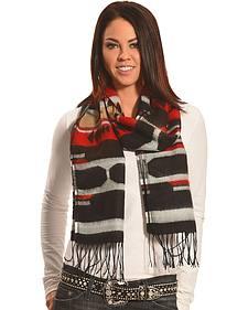 Rapti Fashion Black and Red Cashmere Southwestern Fringe Scarf