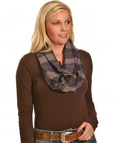 Rapti Fashion Women's Cashmere Navy and Tan Plaid Infinity Scarf