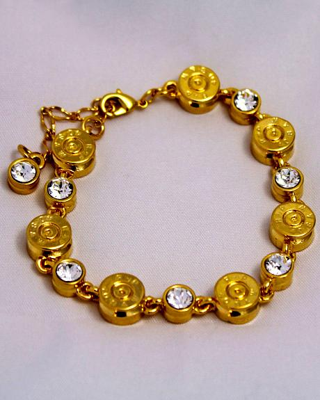 SouthLife Supply Women's Clara Bullet Link Bracelet in Traditional Gold with Crystal