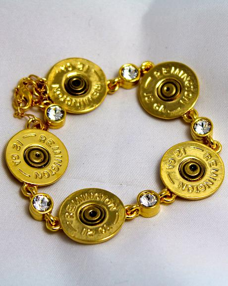 SouthLife Supply Women's Shotshell Link Bracelet in Traditional Gold with Crystals