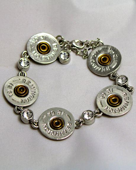 SouthLife Supply Women's Shotshell Link Bracelet in Traditional Silver with Crystals
