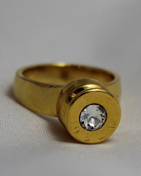 SouthLife Supply Women's Grace Bullet Ring in Traditional Gold with Crystal