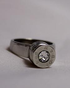 SouthLife Supply Women's Grace Bullet Ring in Traditional Silver with Crystal