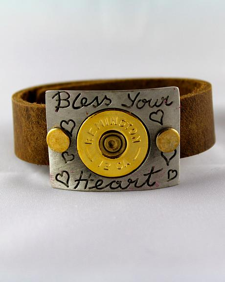 SouthLife Supply Bless Your Heart Plated Cuff with Traditional Gold Shotshell