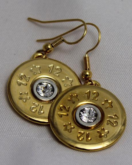 SouthLife Supply Abigail Shotshell Single Dangle Earring in Traditional Gold with Crystal