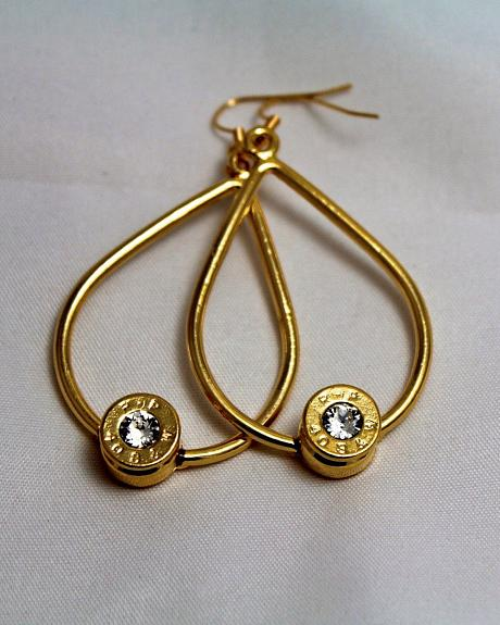 SouthLife Supply Scarlett Bullet Tear Drop Earring in Traditional Gold with Crystal